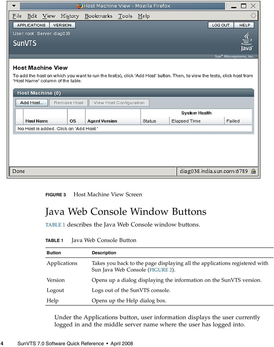 Sun Java Web Console (FIGURE 2). Opens up a dialog displaying the information on the SunVTS version. Logs out of the SunVTS console.