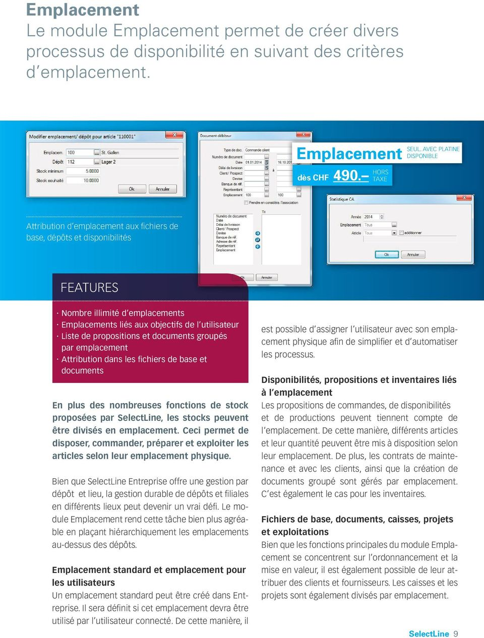 Liste de propositions et documents groupés par emplacement.