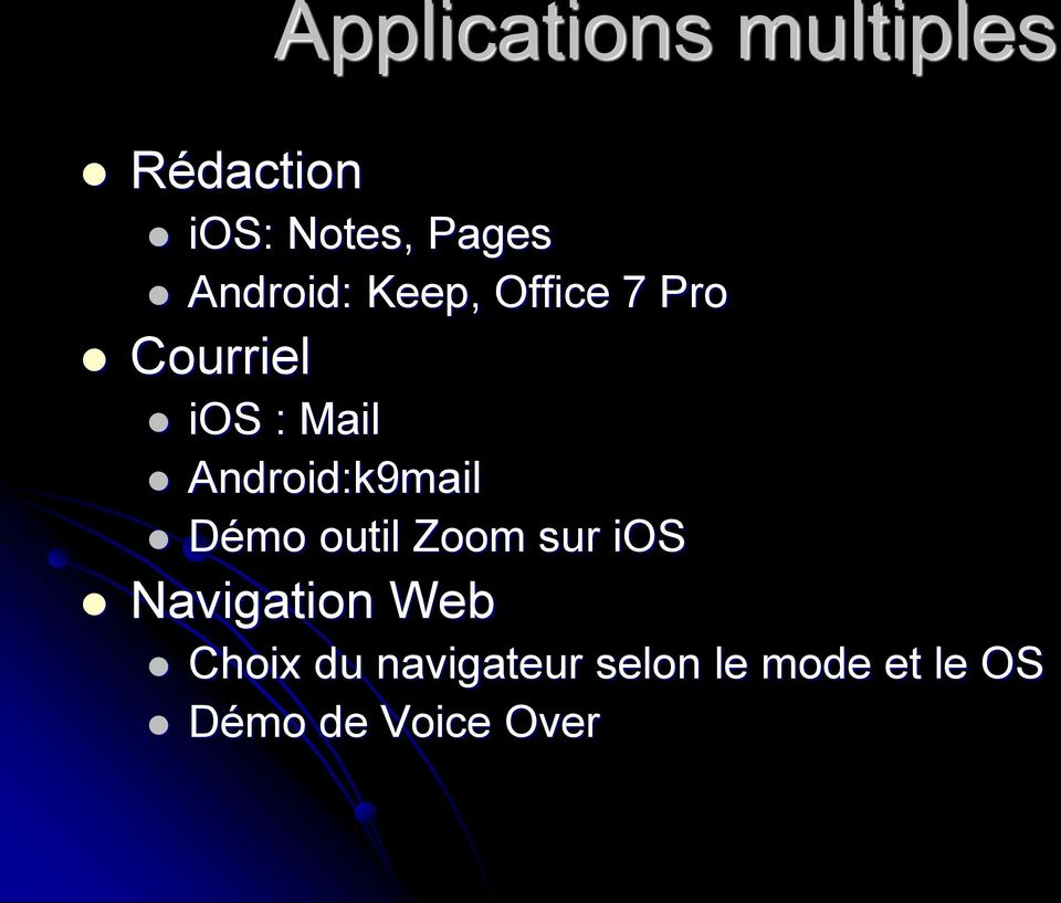 Android:k9mail Démo outil Zoom sur ios Navigation Web