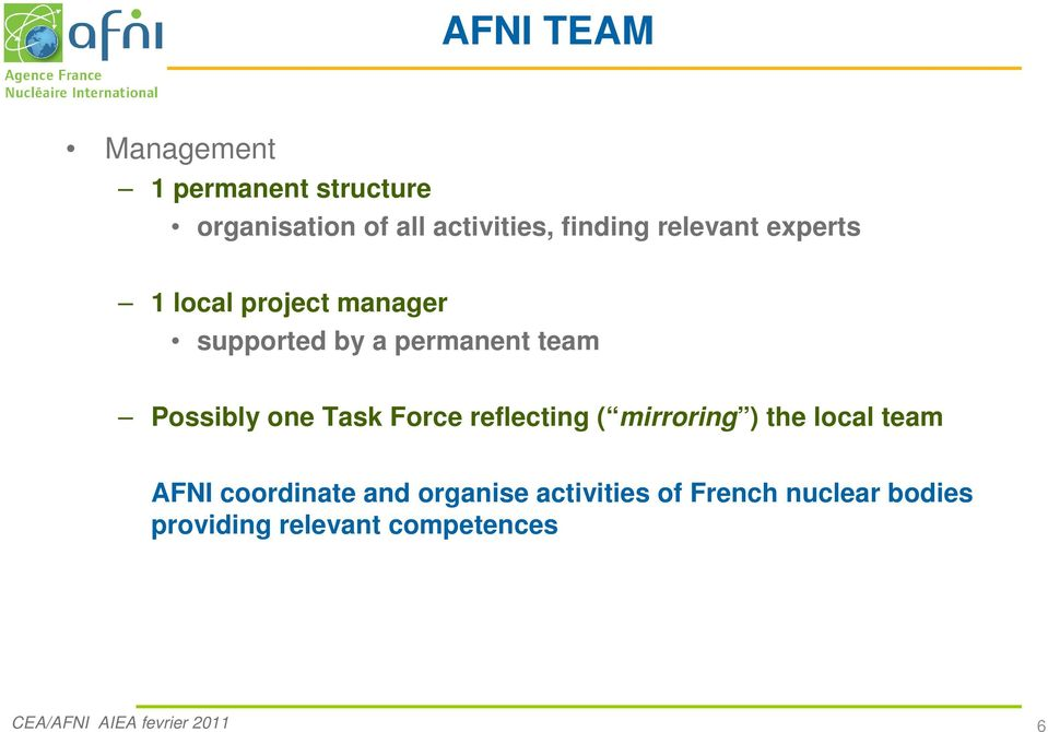 Task Force reflecting ( mirroring ) the local team AFNI coordinate and organise
