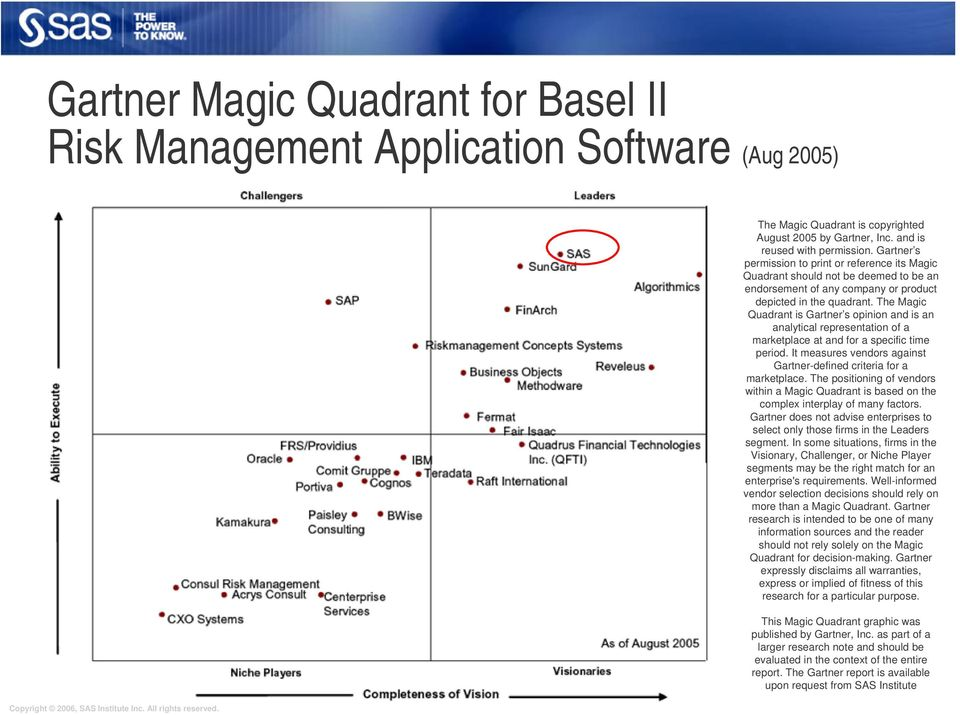 The Magic Quadrant is Gartner s opinion and is an analytical representation of a marketplace at and for a specific time period. It measures vendors against Gartner-defined criteria for a marketplace.