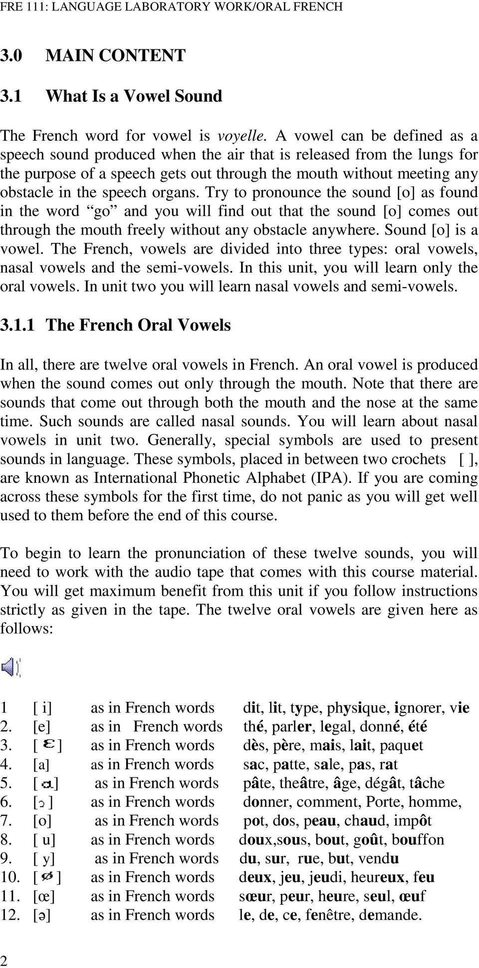 COURSE GUIDE FRE 111 LANGUAGE LABORATORY WORK/ORAL FRENCH - PDF