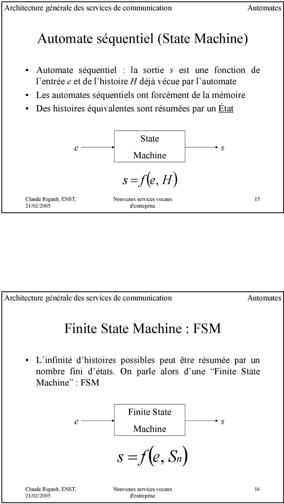 par un État e State Machine s = f ( e, H ) s 15 Architecture générale des services de communication Automates Finite State Machine : FSM L infinité d