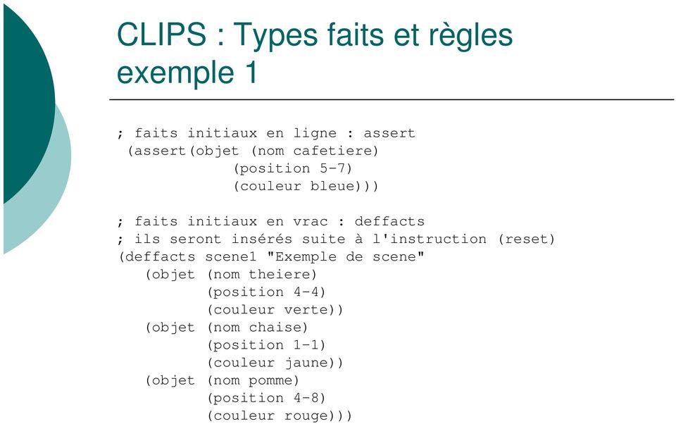 "l'instruction (reset) (deffacts scene1 ""Exemple de scene"" (objet (nom theiere) (position 4-4) (couleur"