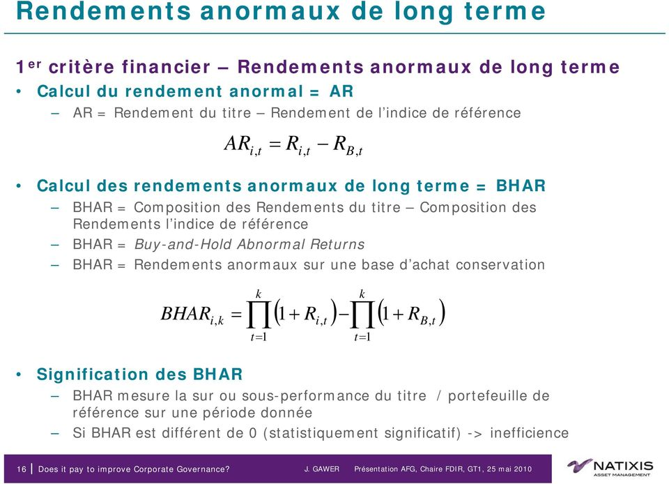 Abnormal Returns BHAR = Rendements anormaux sur une base d achat conservation BHAR Signification des BHAR k k i, k = 1 t= 1 t= 1 ( 1+ Ri, t ) ( + RB, t ) BHAR mesure la sur ou