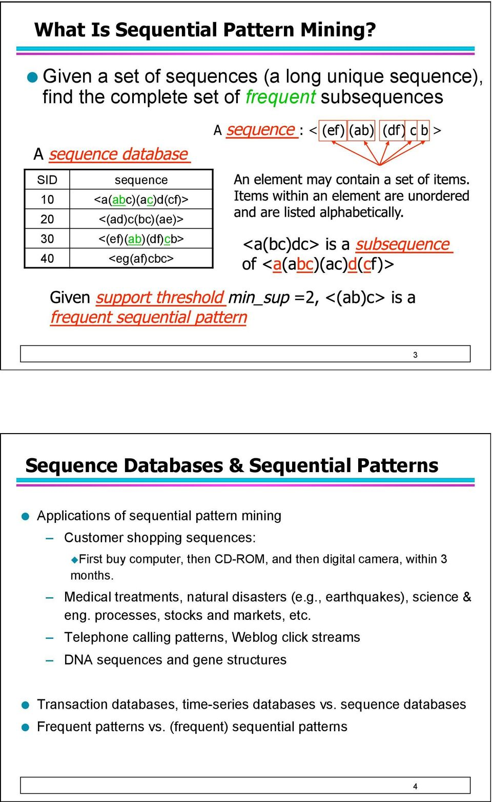 <(ef)(ab)(df)cb> 40 <eg(af)cbc> 3 Sequence Databases & Sequential Patterns Applications of sequential pattern mining Customer shopping sequences: First buy computer, then CD-ROM, and then