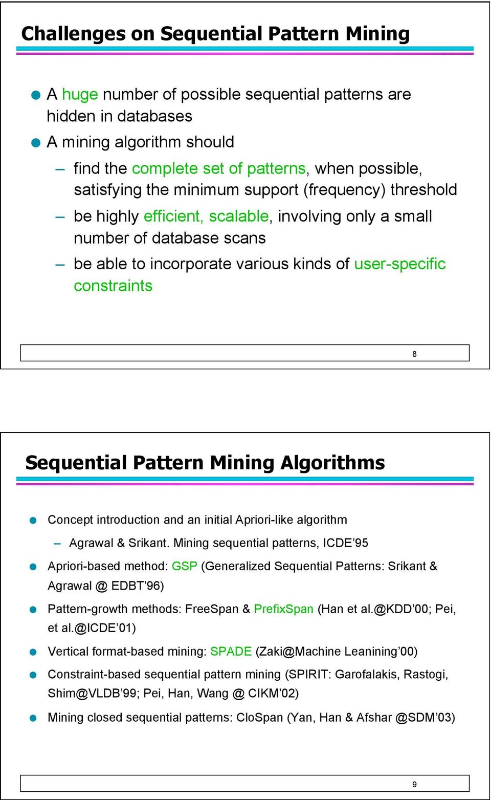 Pattern Mining Algorithms Concept introduction and an initial Apriori-like algorithm Agrawal & Srikant.