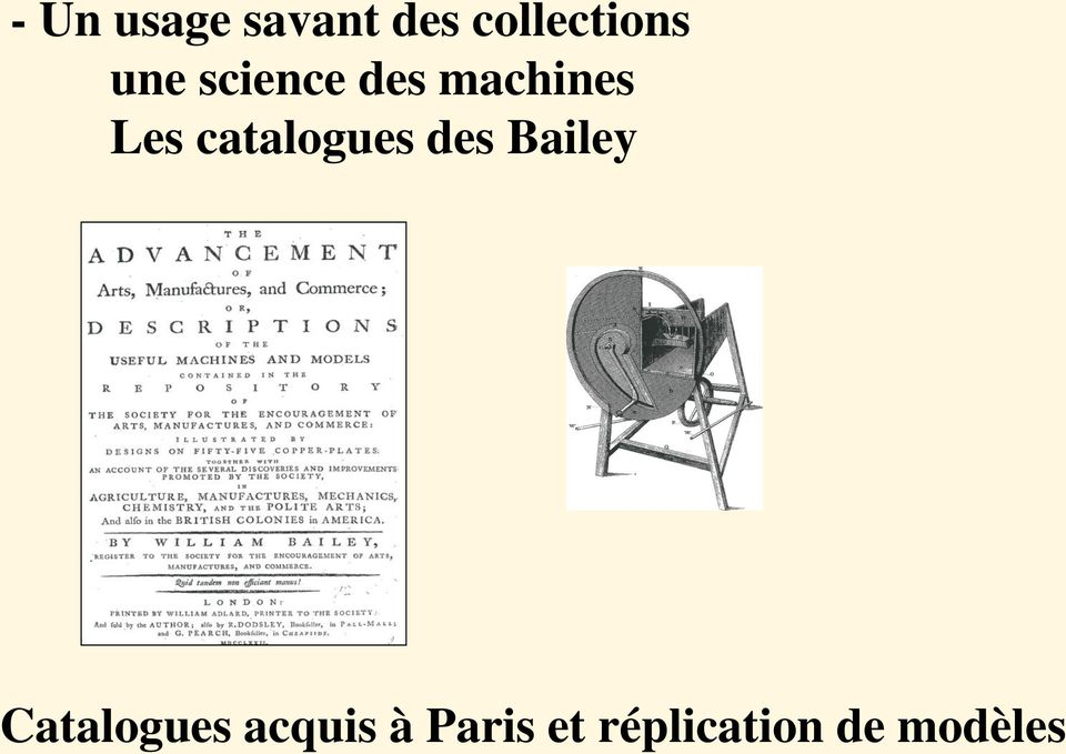 catalogues des Bailey Catalogues