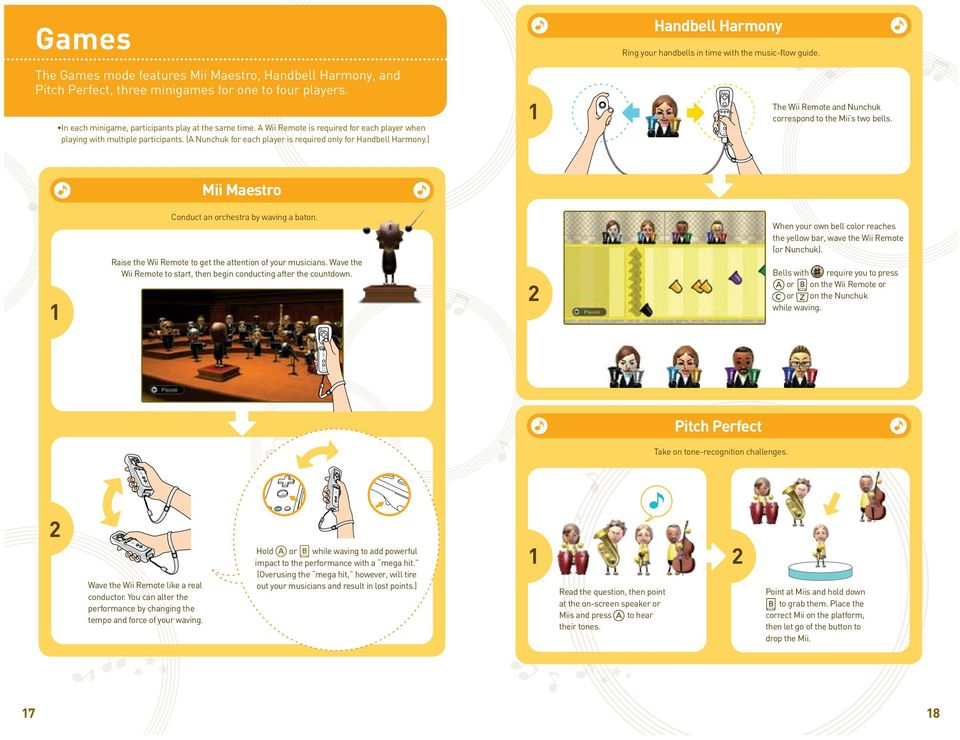 ) 1 Handbell Harmony Ring your handbells in time with the music-flow guide. The Wii Remote and Nunchuk correspond to the Mii s two bells. Mii Maestro 1 Conduct an orchestra by waving a baton.