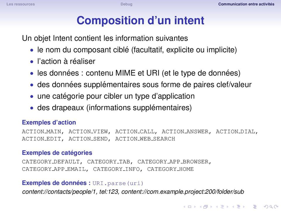 Exemples d action ACTION MAIN, ACTION VIEW, ACTION CALL, ACTION ANSWER, ACTION DIAL, ACTION EDIT, ACTION SEND, ACTION WEB SEARCH Exemples de catégories CATEGORY DEFAULT, CATEGORY TAB,