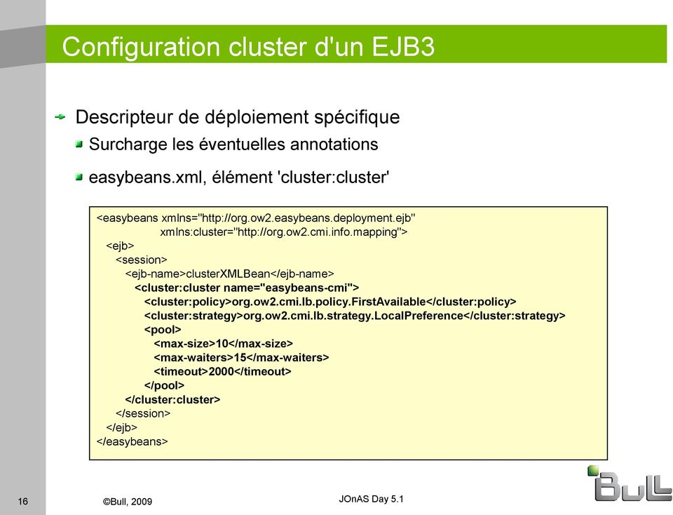 "mapping""> <ejb> <session> <ejb-name>clusterxmlbean</ejb-name> <cluster:cluster name=""easybeans-cmi""> <cluster:policy>"