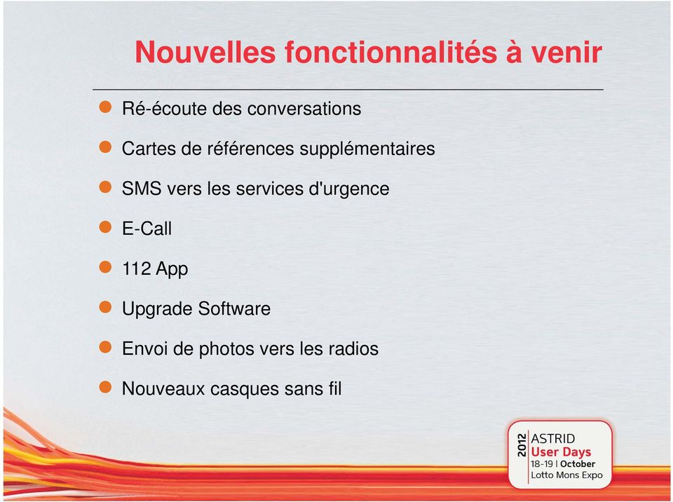 vers les services d'urgence E-Call 112 App Upgrade