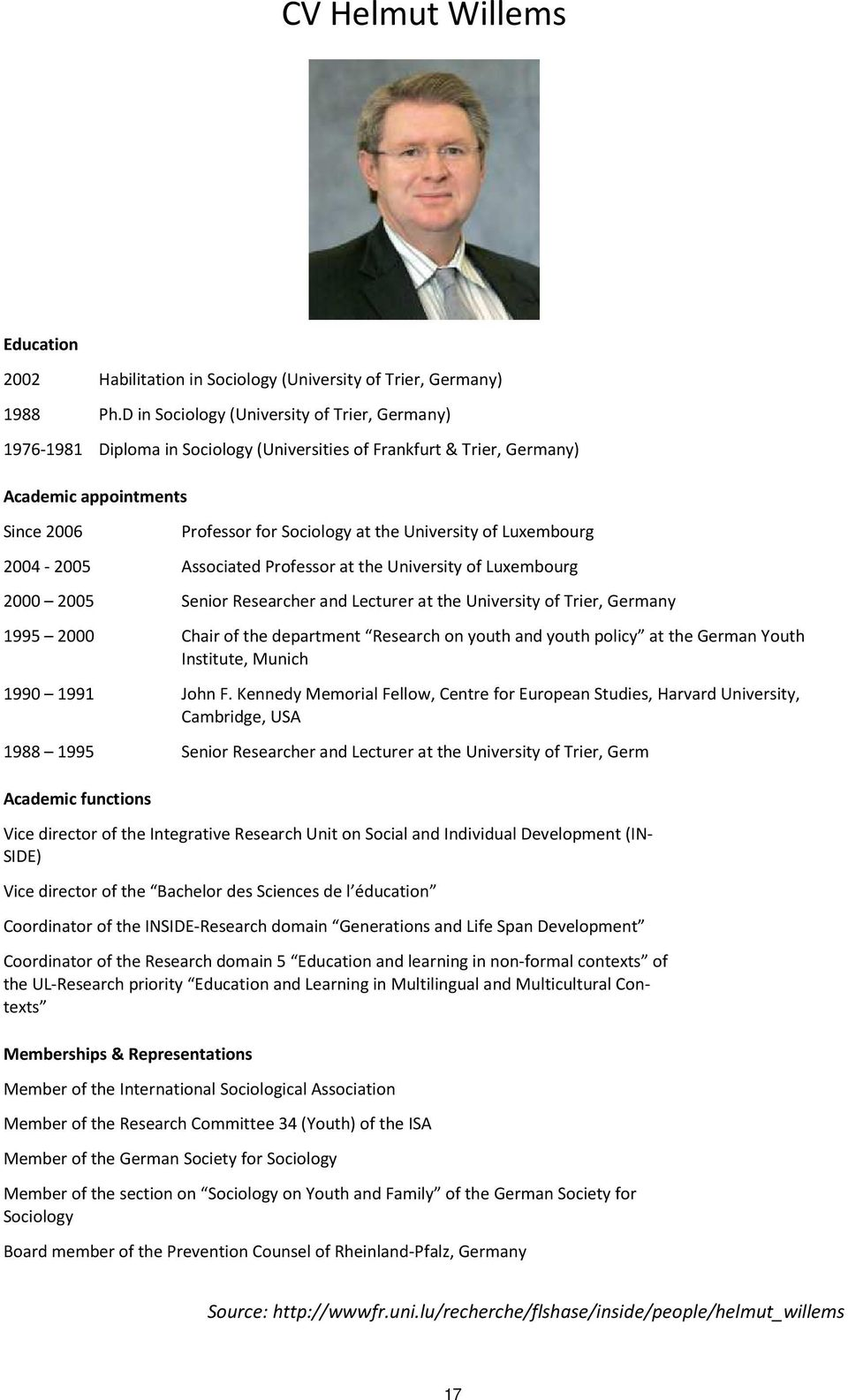 Luxembourg 2004-2005 Associated Professor at the University of Luxembourg 2000 2005 Senior Researcher and Lecturer at the University of Trier, Germany 1995 2000 Chair of the department Research on