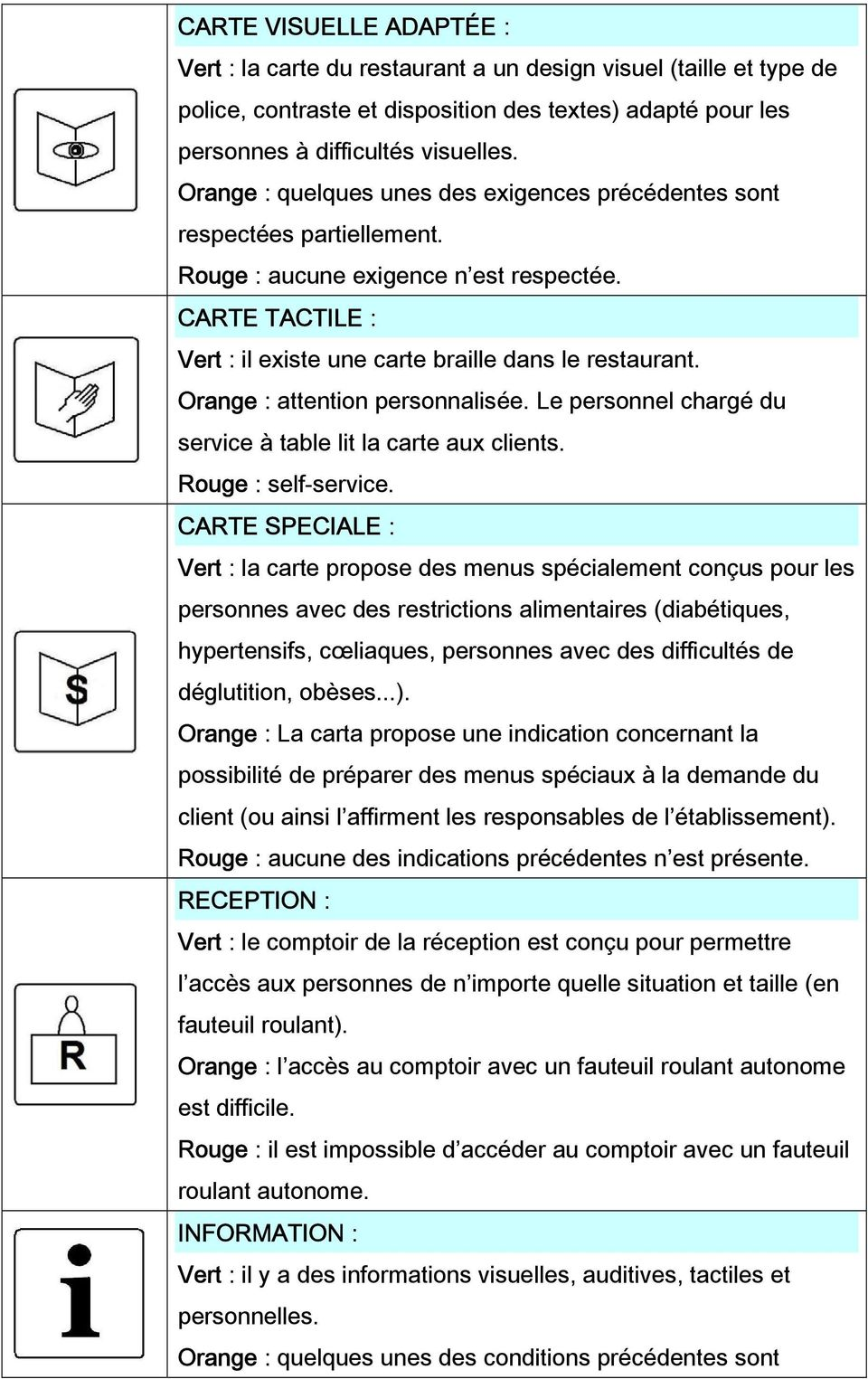 Orange : attention personnalisée. Le personnel chargé du service à table lit la carte aux clients. Rouge : self-service.