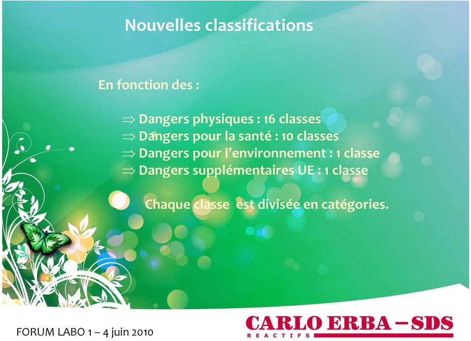 classes Dangers pour l environnement : 1 classe Dangers