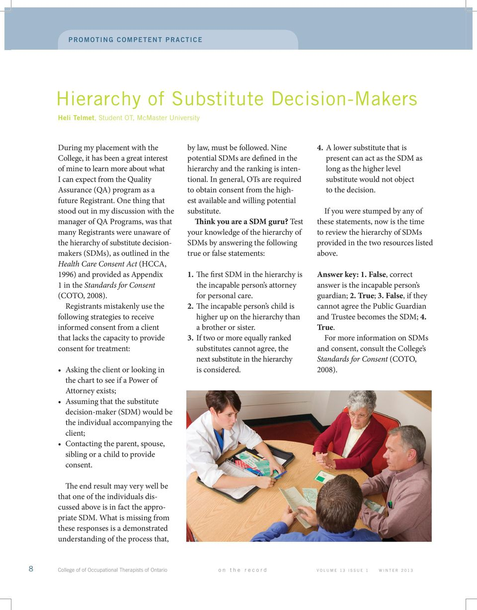 One thing that stood out in my discussion with the manager of QA Programs, was that many Registrants were unaware of the hierarchy of substitute decisionmakers (SDMs), as outlined in the Health Care