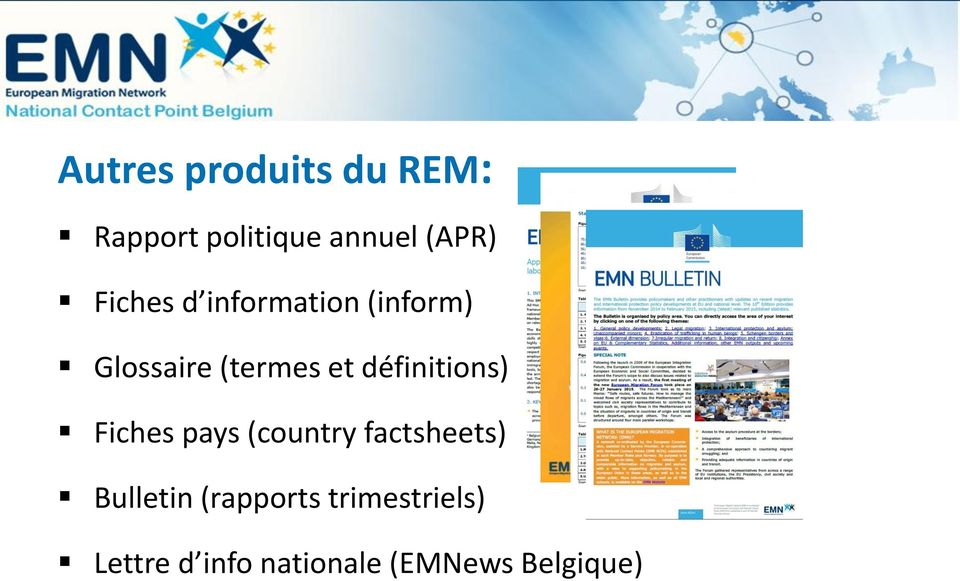 définitions) Fiches pays (country factsheets) Bulletin