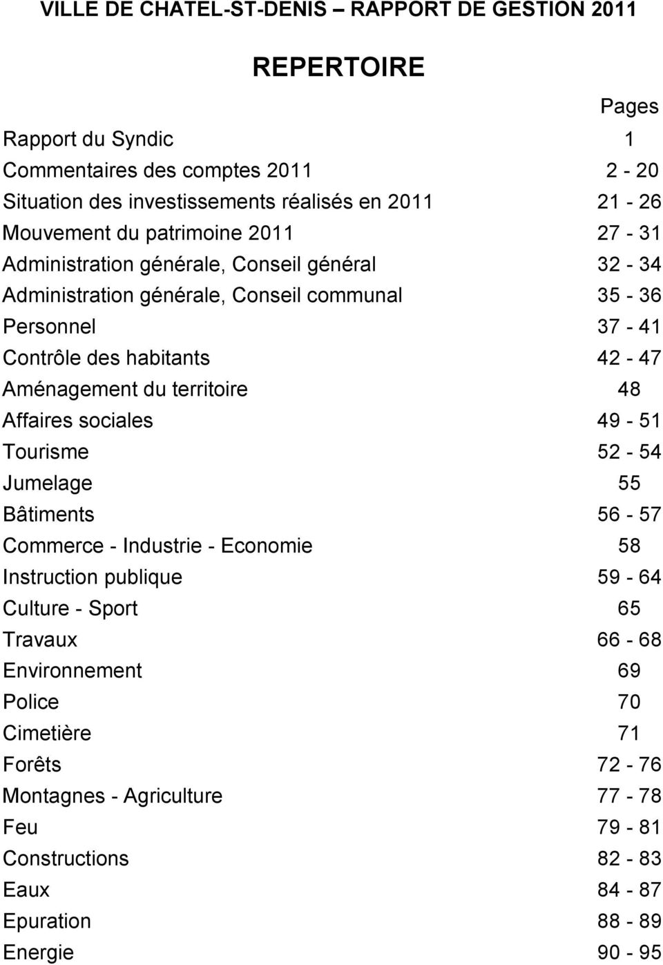 42-47 Aménagement du territoire 48 Affaires sociales 49-51 Tourisme 52-54 Jumelage 55 Bâtiments 56-57 Commerce - Industrie - Economie 58 Instruction publique 59-64 Culture