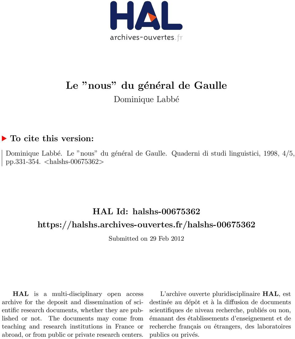 fr/halshs-00675362 Submitted on 29 Feb 2012 HAL is a multi-disciplinary open access archive for the deposit and dissemination of scientific research documents, whether they are published or not.
