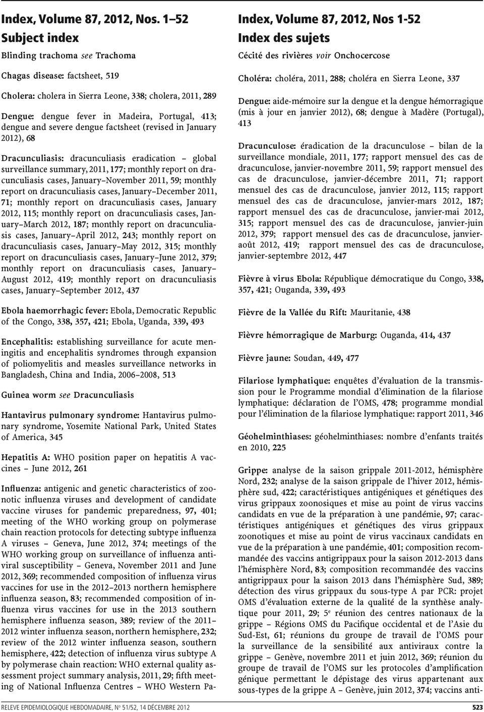 severe dengue factsheet (revised in January 2012), 68 Dracunculiasis: dracunculiasis eradication global surveillance summary, 2011, 177; monthly report on dracunculiasis cases, January November 2011,