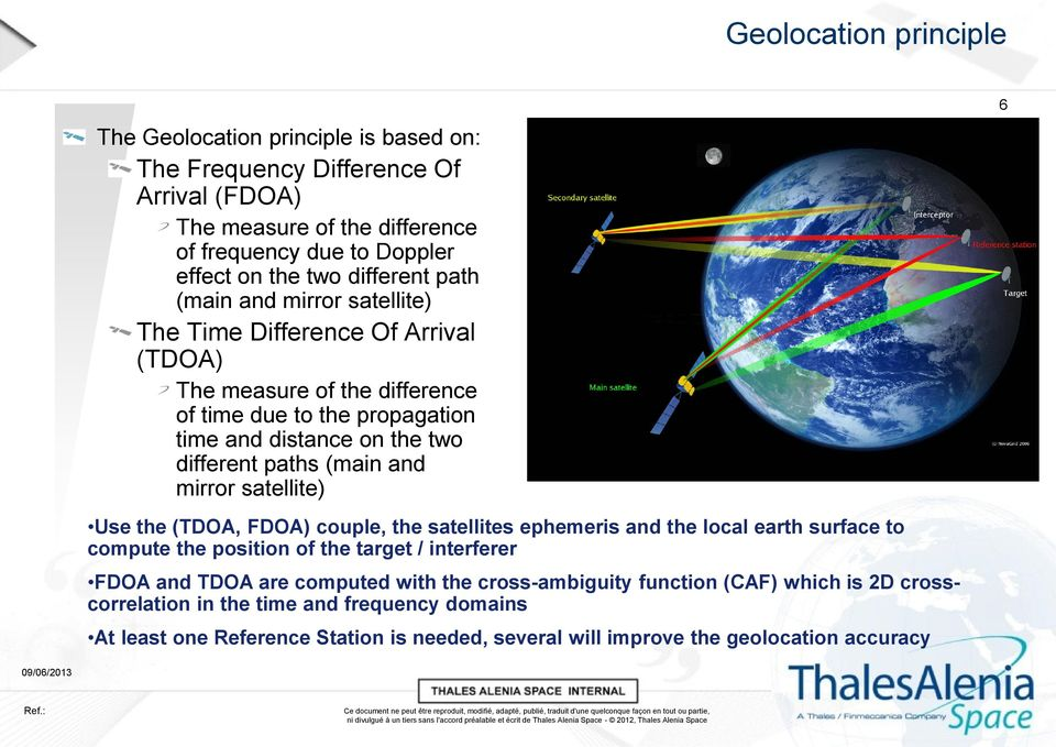 (main and mirror satellite) Use the (TDOA, FDOA) couple, the satellites ephemeris and the local earth surface to compute the position of the target / interferer FDOA and TDOA are