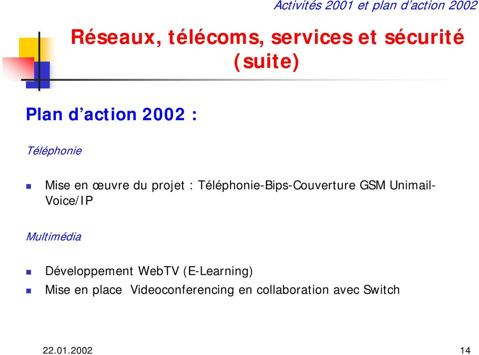 Unimail- Voice/IP Multimédia Développement WebTV (E-Learning) Mise