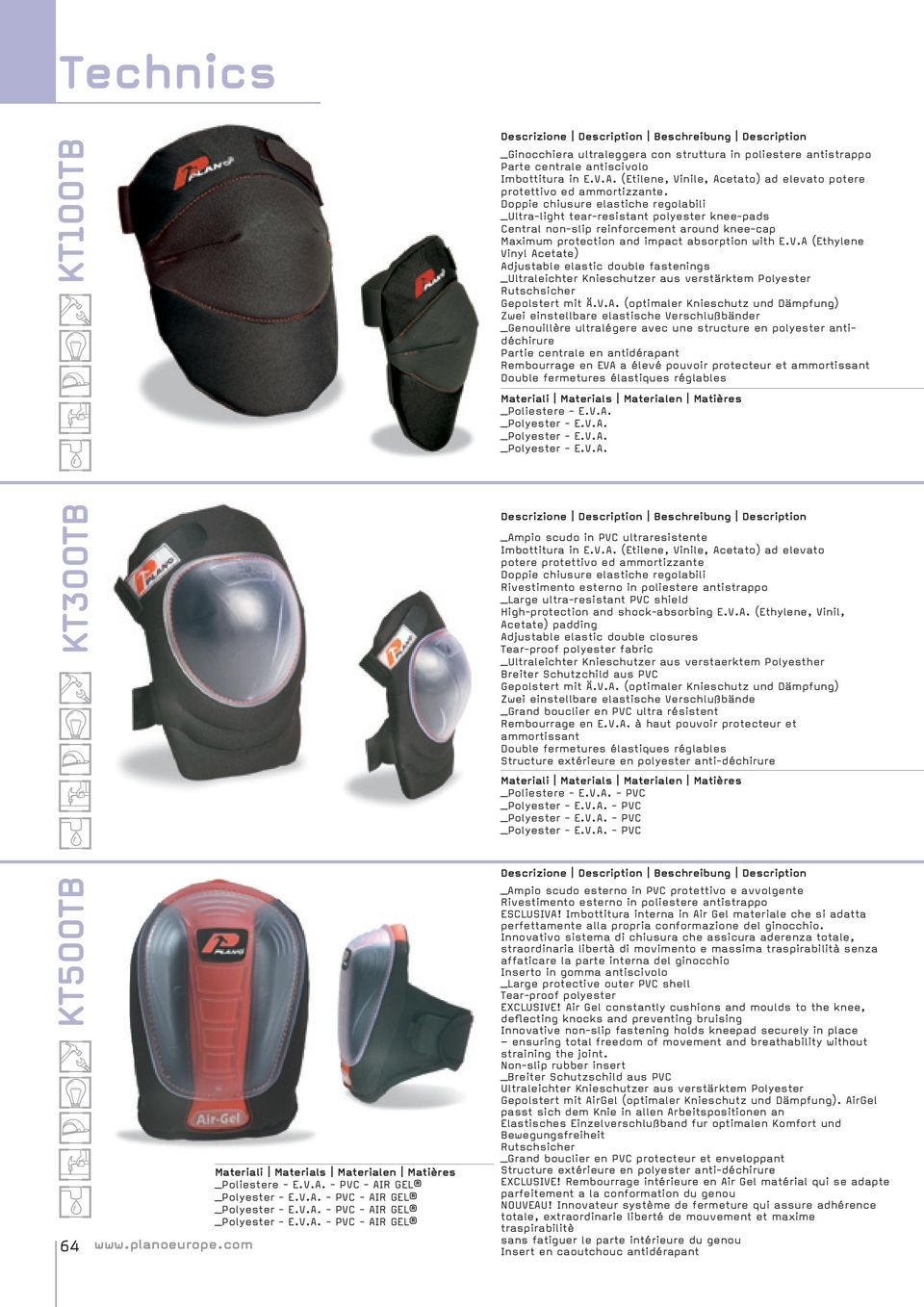Doppie chiusure elastiche regolabili _Ultra-light tear-resistant polyester knee-pads Central non-slip reinforcement around knee-cap Maximum protection and impact absorption with E.V.