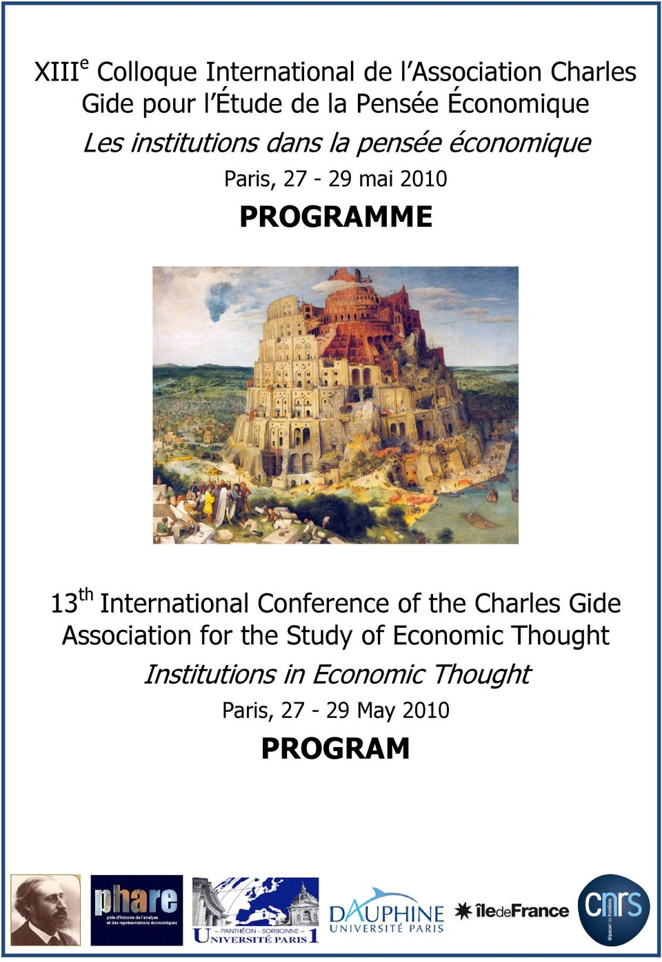 PROGRAMME 13 th International Conference of the Charles Gide Association for the