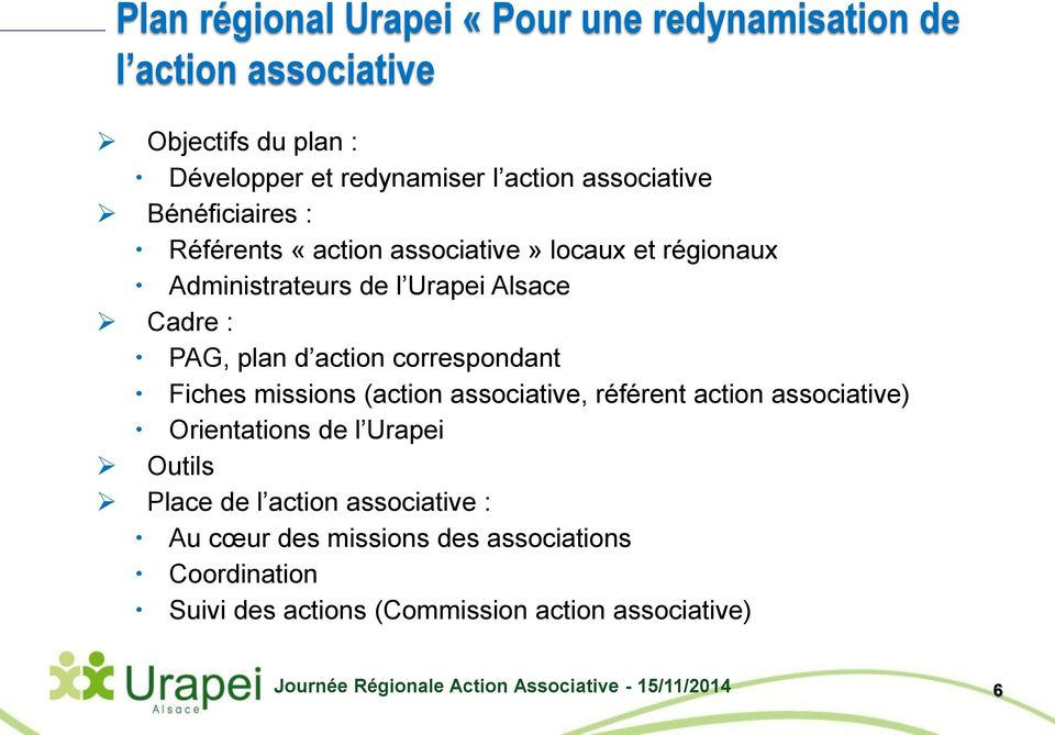 plan d action correspondant Fiches missions (action associative, référent action associative) Orientations de l Urapei Outils