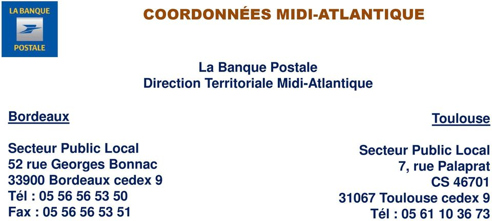 Bordeaux cedex 9 Tél : 05 56 56 53 50 Fax : 05 56 56 53 51 Toulouse