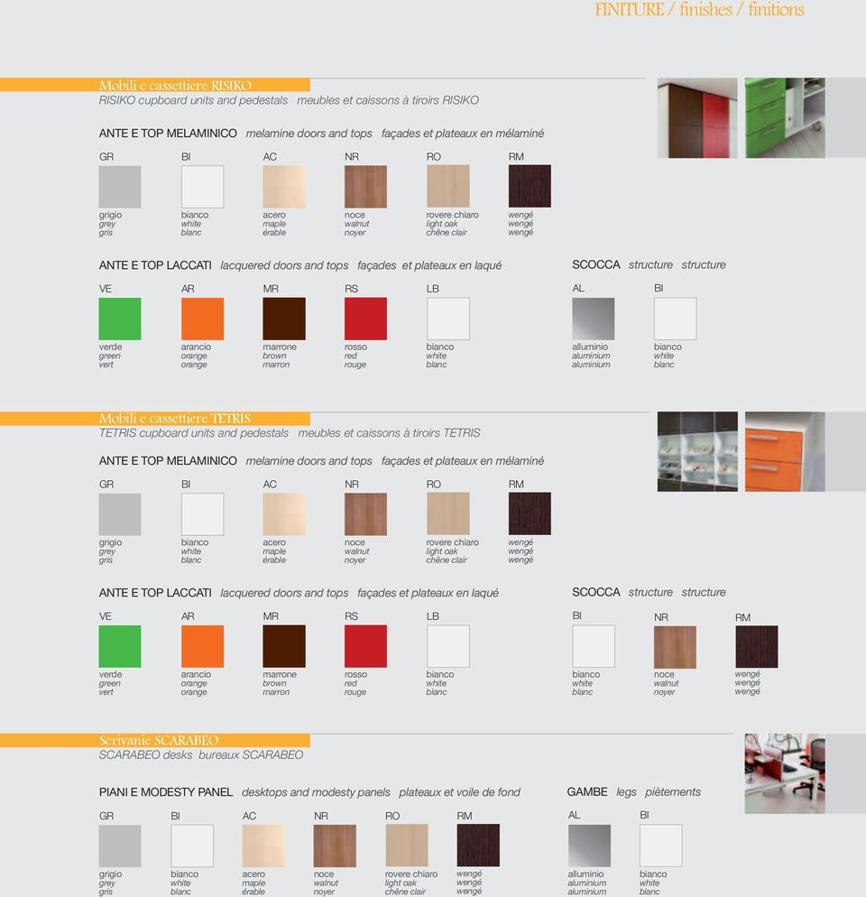 et plateaux en laqué SCOCCA structure structure VE AR MR RS LB AL BI verde green vert arancio orange orange marrone brown marron rosso red rouge bianco white blanc alluminio aluminium aluminium