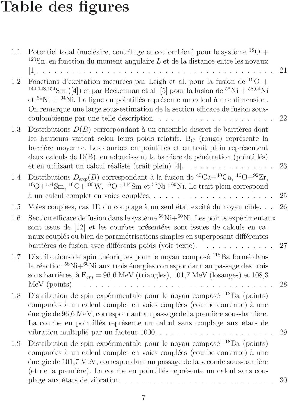 La ligne en pointillés représente un calcul àunedimension. On remarque une large sous-estimation de la section efficace de fusion souscoulombienne par une telle description..................... 22 1.