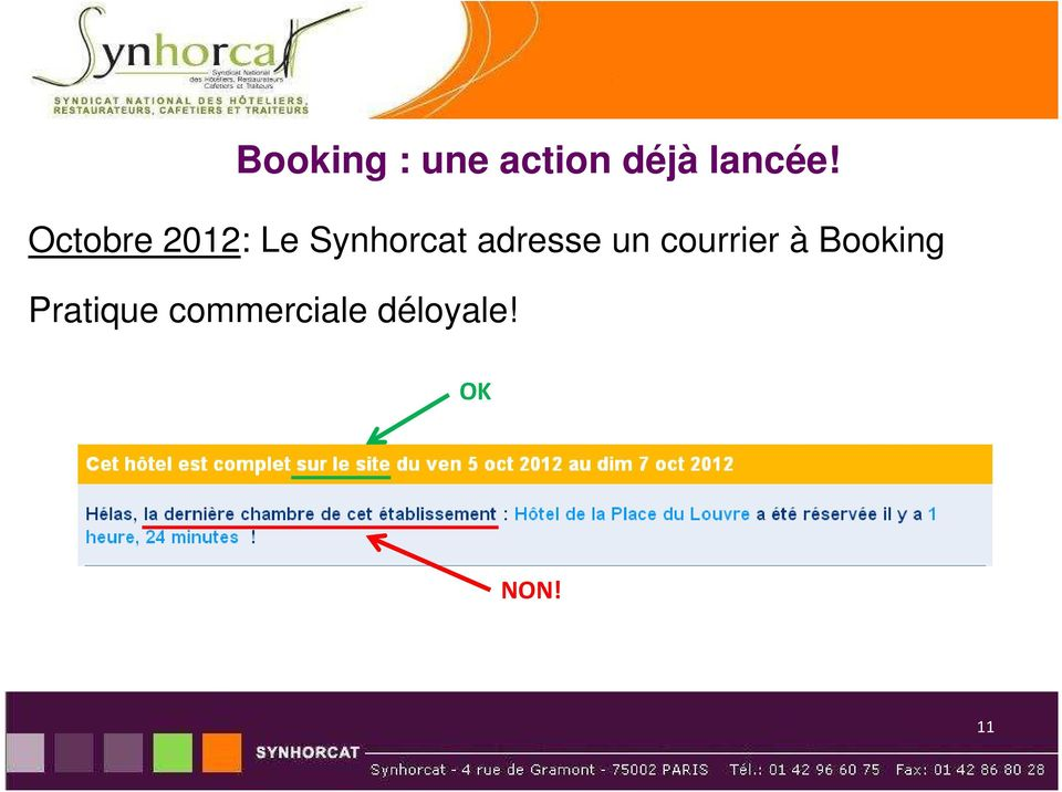adresse un courrier à Booking