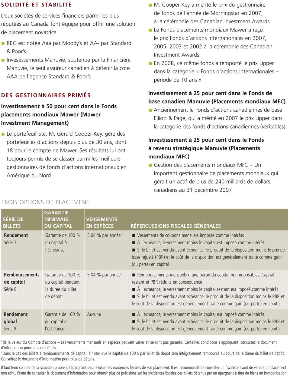 50 pour cent dans le Fonds placements mondiaux Mawer (Mawer Investment Management) Le portefeuilliste, M.