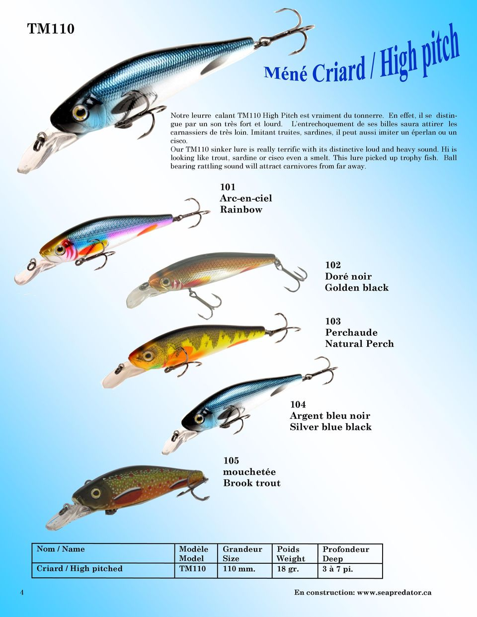 Our TM110 sinker lure is really terrific with its distinctive loud and heavy sound. Hi is looking like trout, sardine or cisco even a smelt. This lure picked up trophy fish.