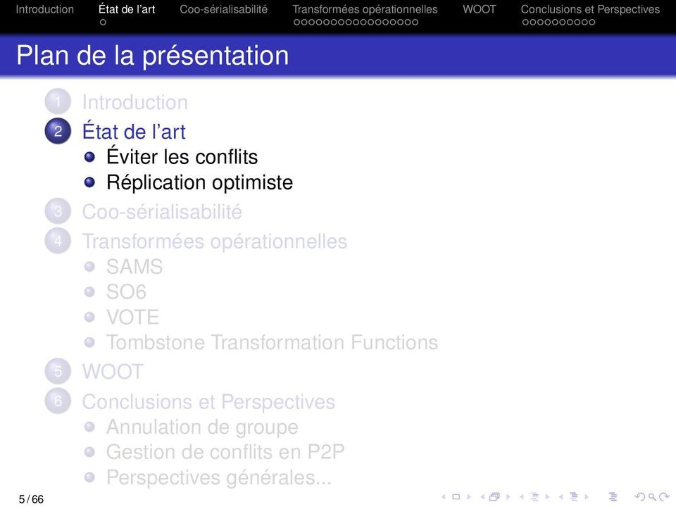 opérationnelles SAMS SO6 VOTE Tombstone Transformation Functions 5 WOOT 6