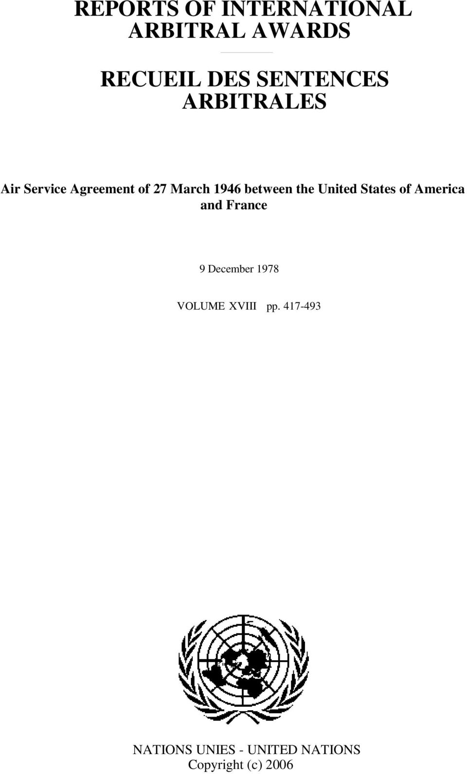 United States of America and France 9 December 1978 VOLUME