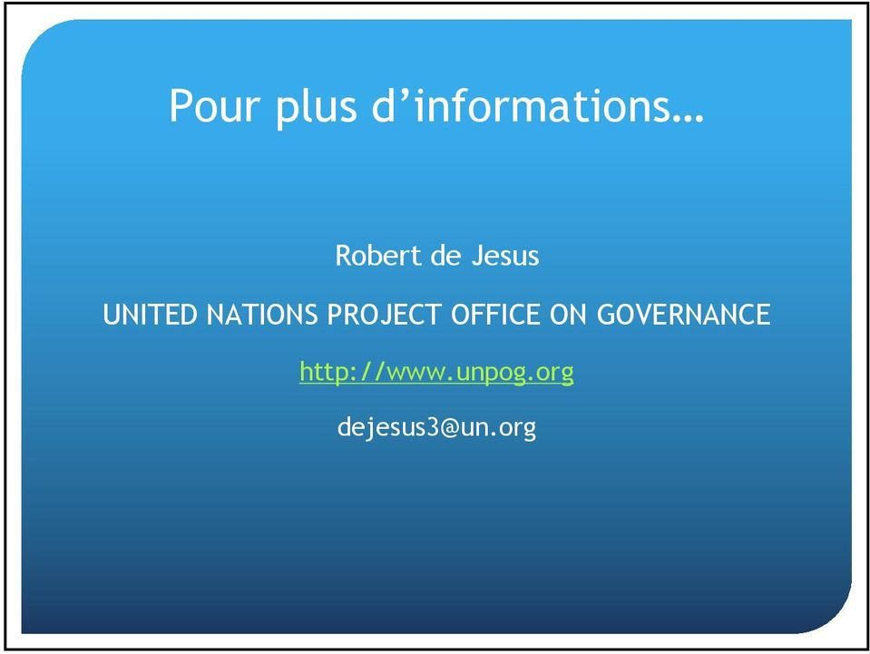 PROJECT OFFICE ON GOVERNANCE