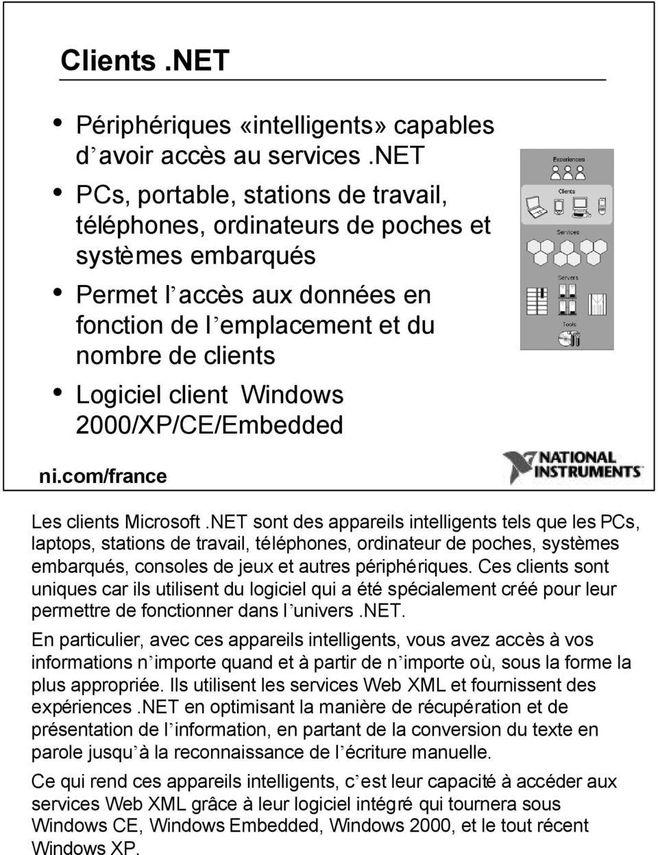 2000/XP/CE/Embedded Les clients Microsoft.