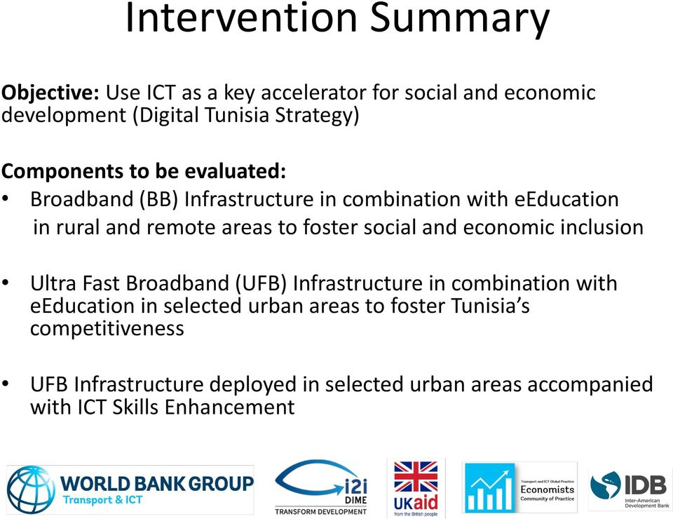 social and economic inclusion Ultra Fast Broadband (UFB) Infrastructure in combination with eeducation in selected urban
