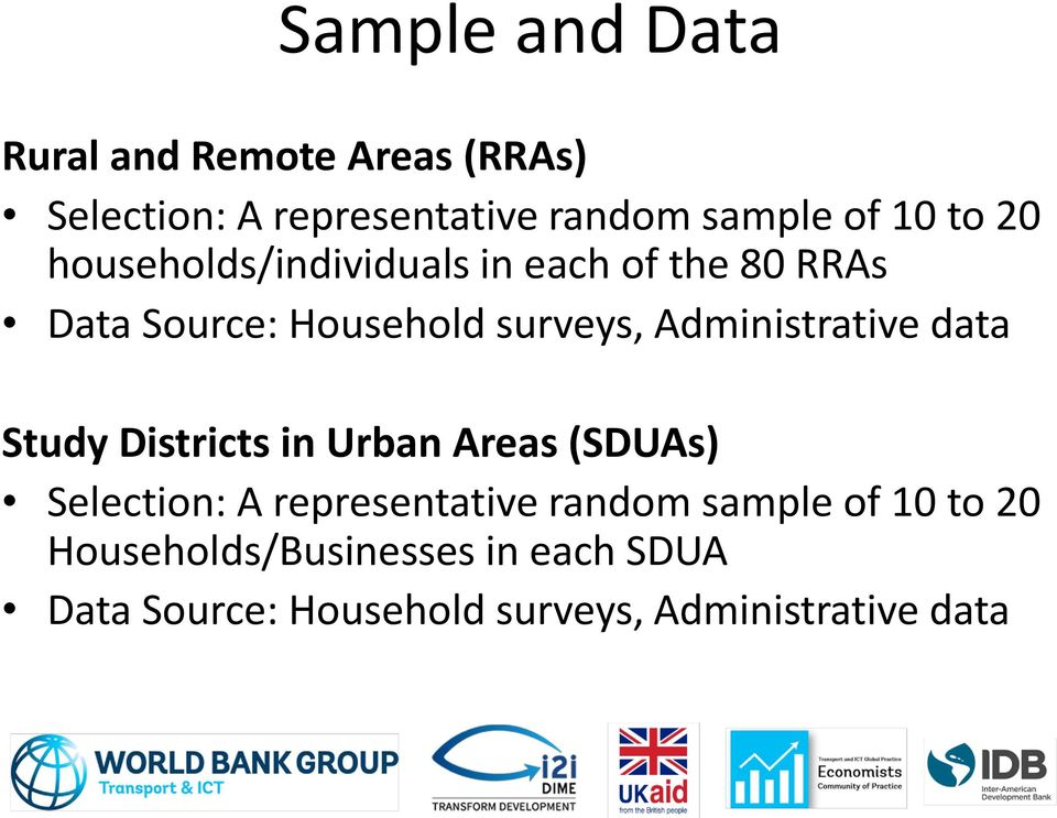 Administrative data Study Districts in Urban Areas (SDUAs) Selection: A representative random