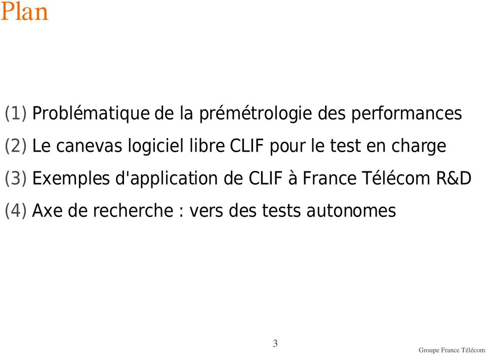 test en charge (3) Exemples d'application de CLIF à