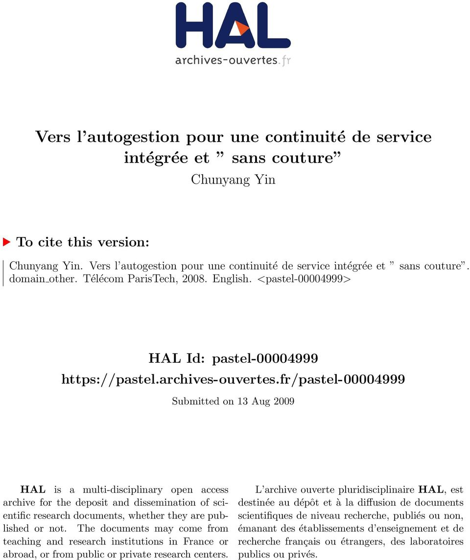fr/pastel-00004999 Submitted on 13 Aug 2009 HAL is a multi-disciplinary open access archive for the deposit and dissemination of scientific research documents, whether they are published or not.