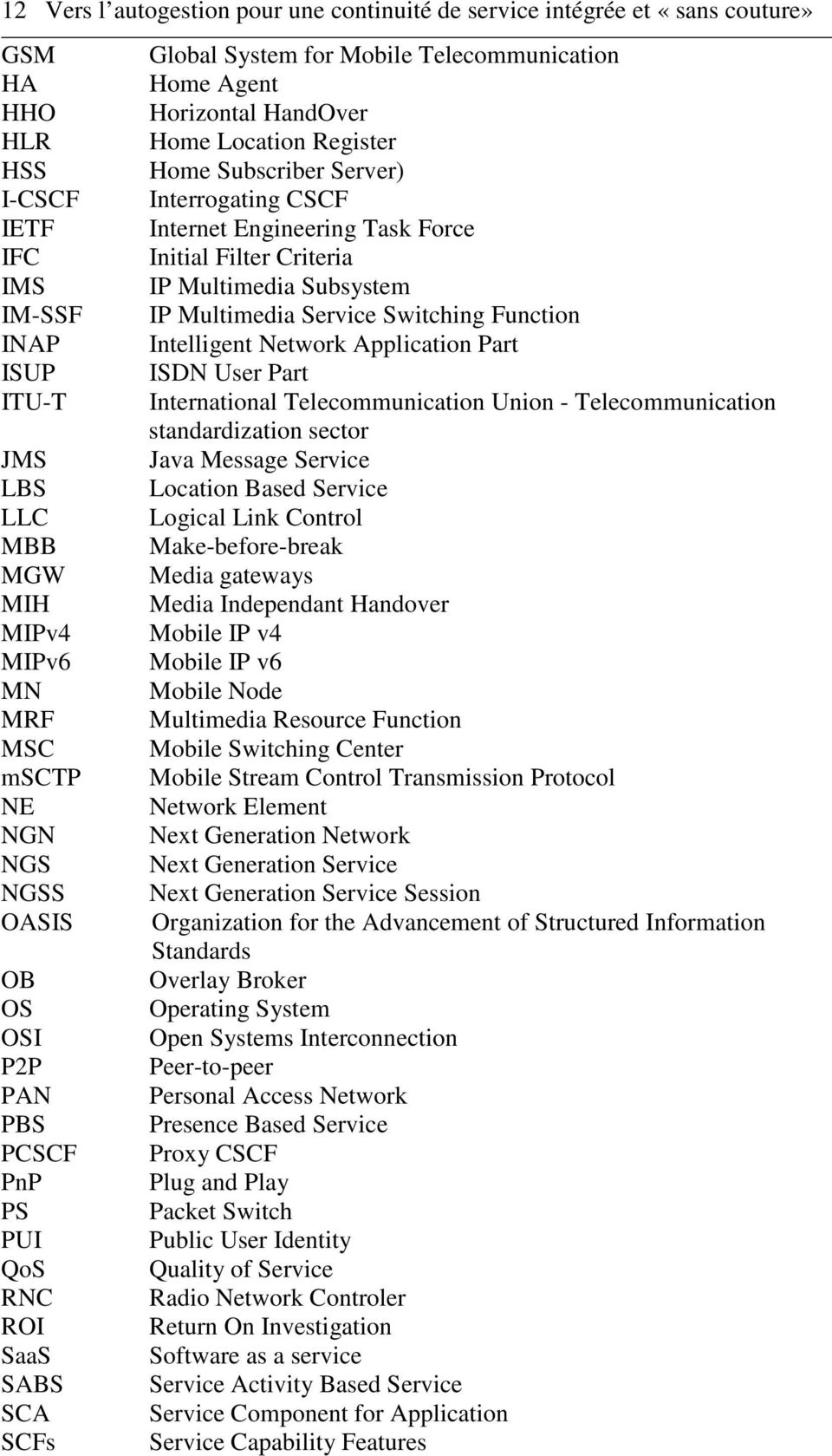 Intelligent Network Application Part ISUP ISDN User Part ITU-T International Telecommunication Union - Telecommunication standardization sector JMS Java Message Service LBS Location Based Service LLC