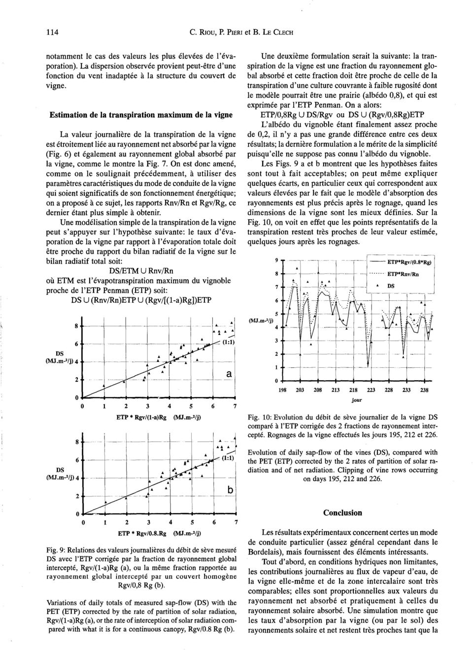 Estimation de la transpiration maximum de la vigne La valeur journaliere de la transpiration de la vigne est etroitement lies au rayonnement net absorbe par la vigne (Fig.