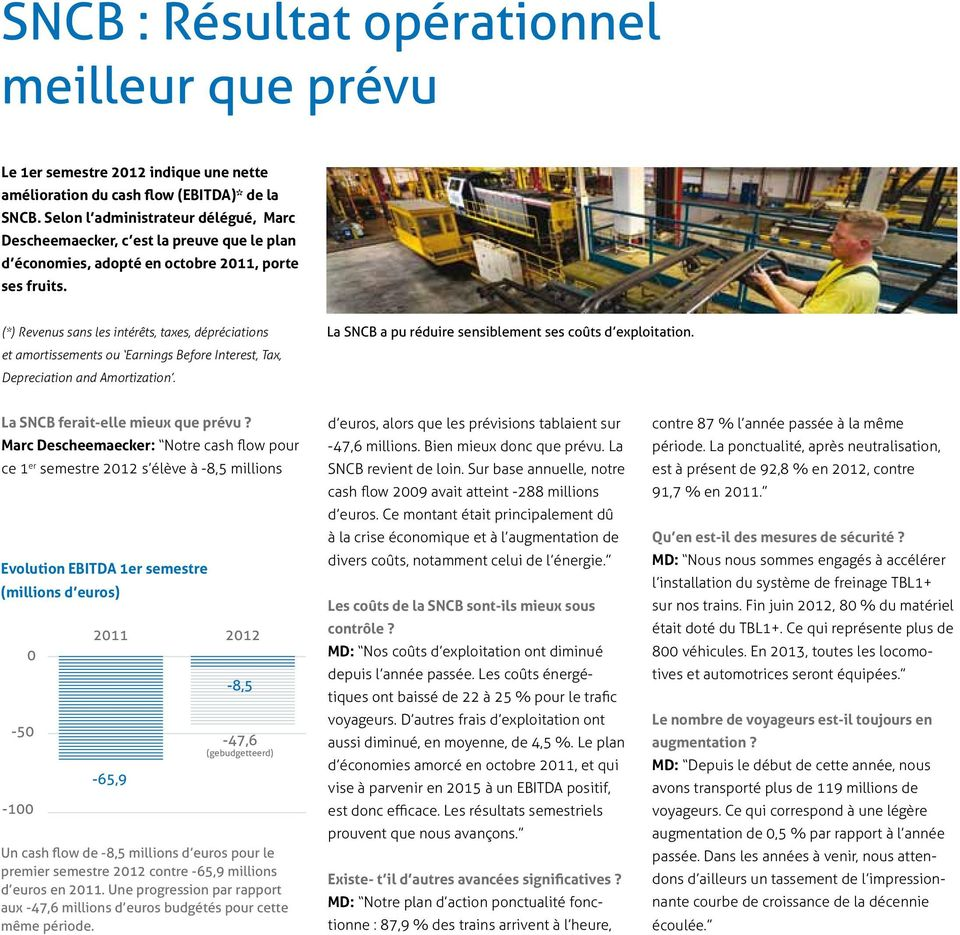 (*) Revenus sans les intérêts, taxes, dépréciations et amortissements ou Earnings Before Interest, Tax, Depreciation and Amortization. La SNCB a pu réduire sensiblement ses coûts d exploitation.