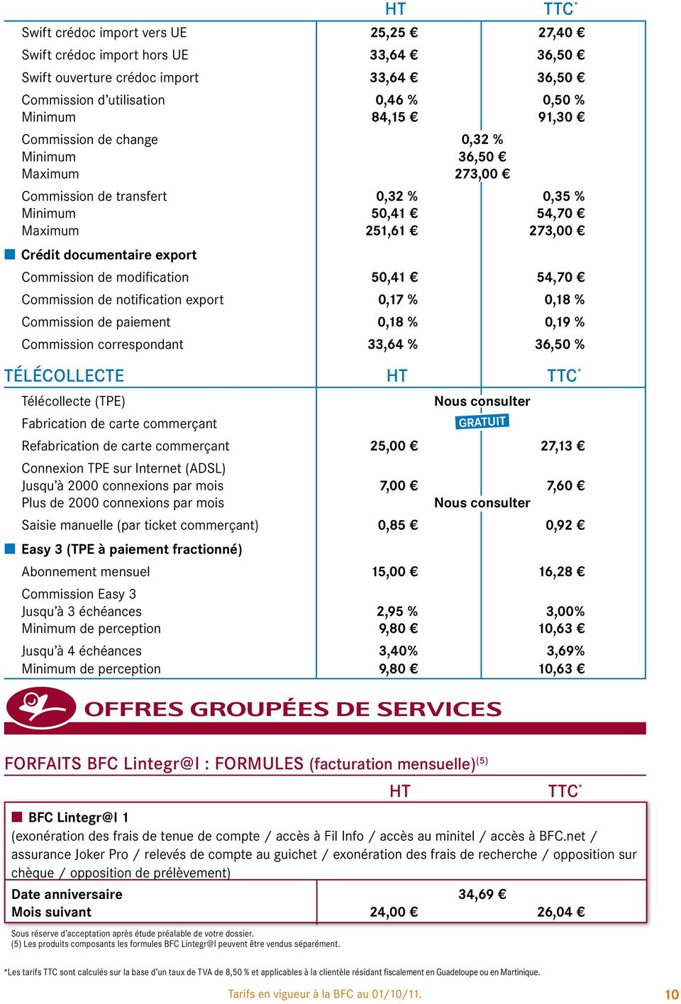 Commission de notification export 0,17 % 0,18 % Commission de paiement 0,18 % 0,19 % Commission correspondant 33,64 % 36,50 % TÉLÉCOLLECTE HT TTC * Télécollecte (TPE) Fabrication de carte commerçant