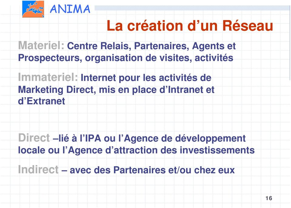 Direct, mis en place d Intranet et d Extranet Direct lié à l IPA ou l Agence de