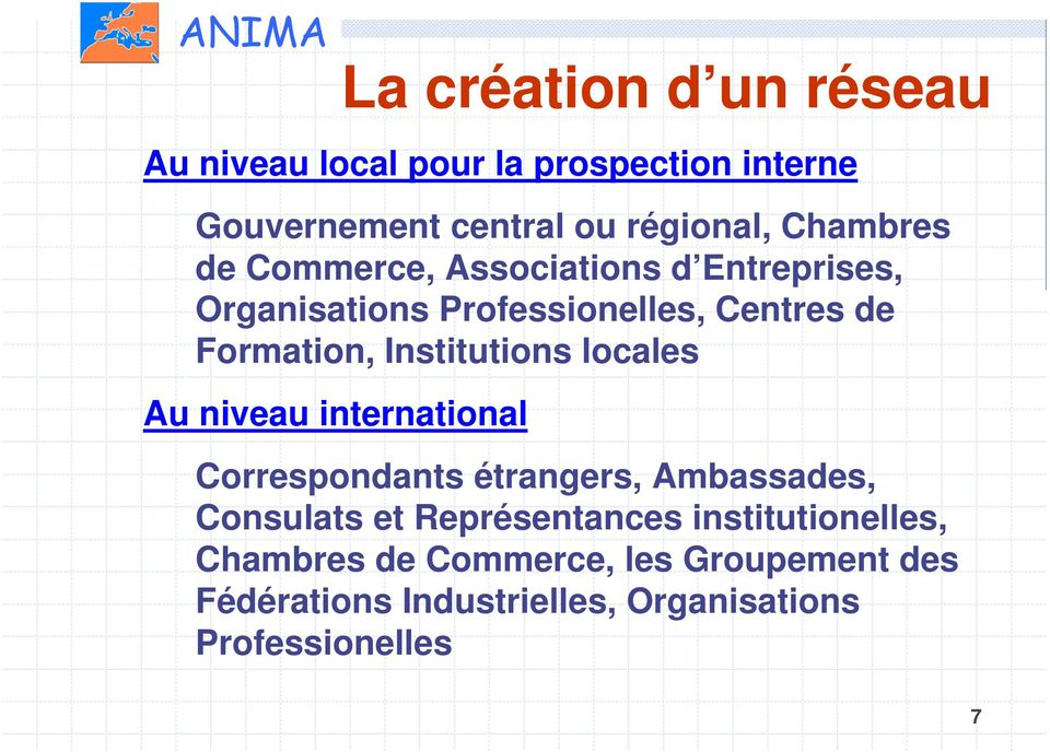 Institutions locales Au niveau international Correspondants étrangers, Ambassades, Consulats et