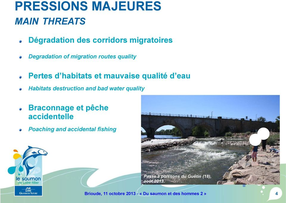 and bad water quality Braconnage et pêche accidentelle Poaching and accidental fishing